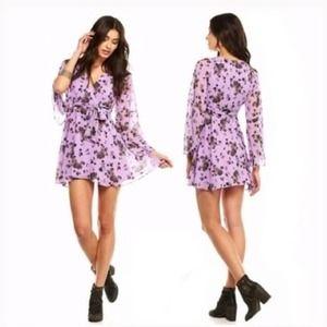 Free People Lilou Dress Purple M Floral Bell Dress